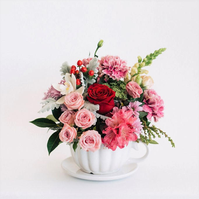 Lisa - White ceramic flower arrangement with pretty in pink florals, Melbourne delivery.