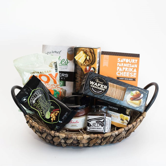 Nibbles - savoury gourmet mixed selection hamper in basket, Melbourne & Australiawide delivery available