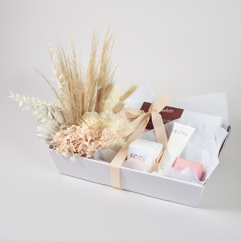 Dried and preserved flower arrangement hamper with chocolates and ecoya products for Melbourne Metro delivery only.