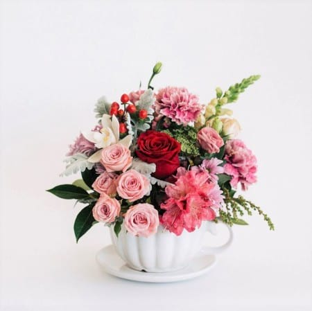 Lisa - White teacup flower arrangement with pretty in pink florals, Melbourne delivery.