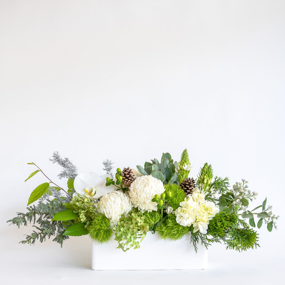 Low, long centrepiece flower arrangement featuring white disbuds, hydrangea, chincherinchee, jade succulent, phalaenopsis orchid, hypericum and pine cones.