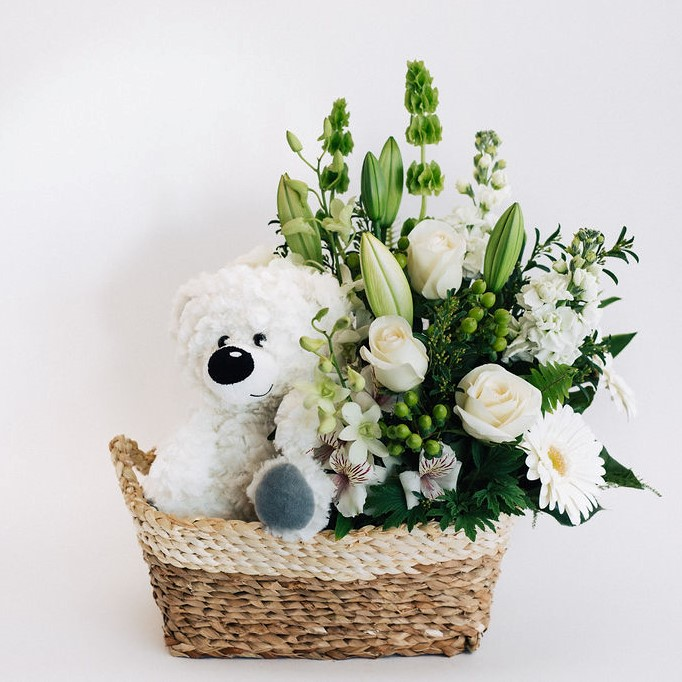 New baby, newborn basket with flowers and white teddy bear for Melbourne delivery